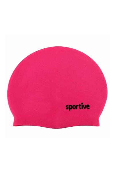 Sportive Pembe Silikon Yüzücü Bone