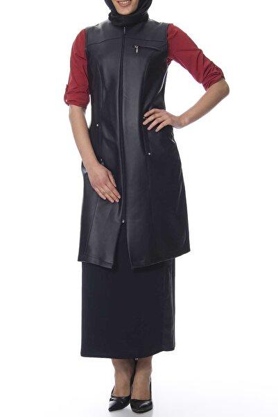 Moday Kadın Lacivert Deri Detaylı Yelek G10-103188 G10-103188