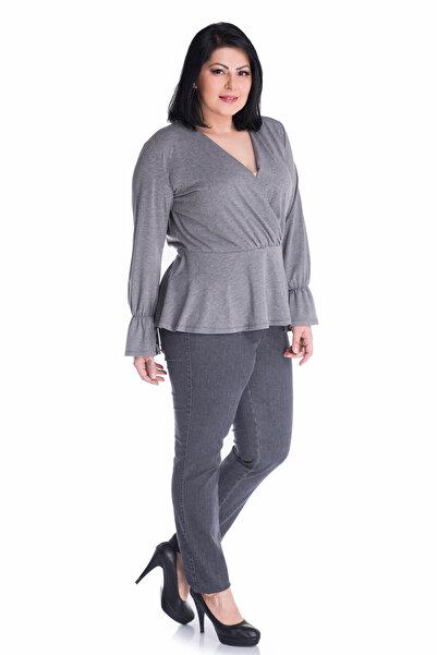 MYLİNE Kadın Gri Beli Lastikli Jeans BLDP2