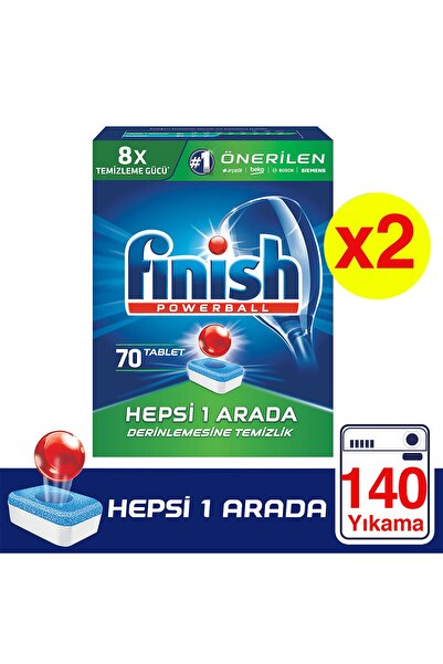 Finish Hepsi Bir Arada 140 Tablet Bulaşık Makinesi Deterjanı (70x2)