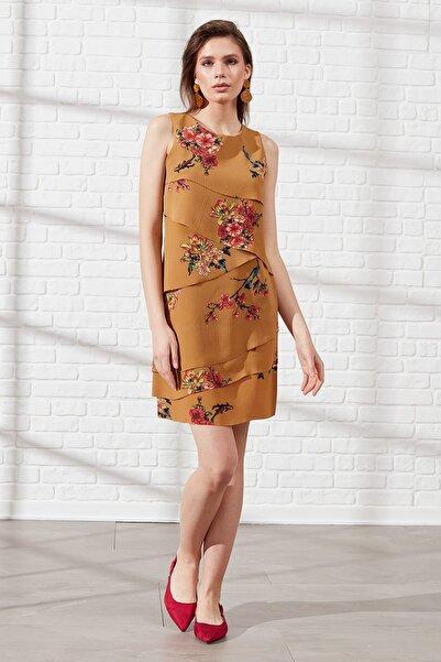 Journey Kadın Çiçekli Hardal Elbise 19Yelb807