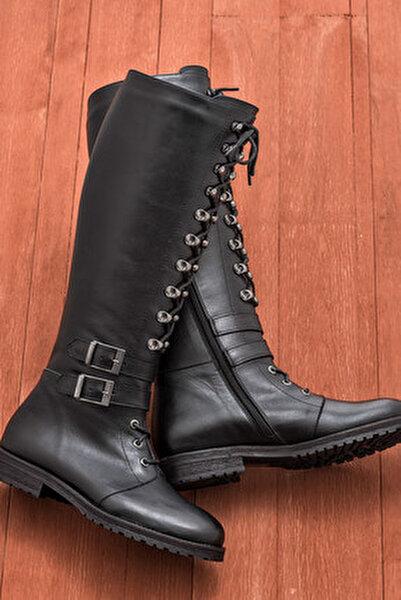 BECA Hakiki Deri Siyah Kadın Çizme