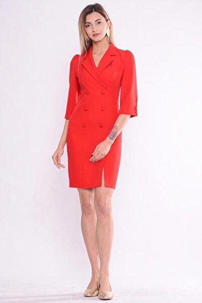 İroni Kadın Kırmızı Blazer Elbise 5154-891
