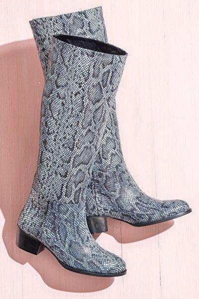 Elle Shoes LUTONN Hakiki Deri Siyah Beyaz Kadın Çizme