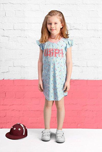 U.S. Polo Assn. Lisanslı Mavi Kız Çocuk Gecelik