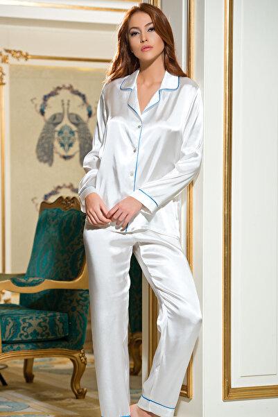 AYYILDIZ Kadın Ekru Bebek Mavisi Saten Pijama Takımı 3926