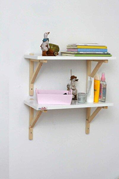 Ceebebek Ahşap Bebek Çocuk Odası Duvar Rafı Kitaplık Eğitici Montessori Raf Dekor İkili Raf CEE2SUN502099