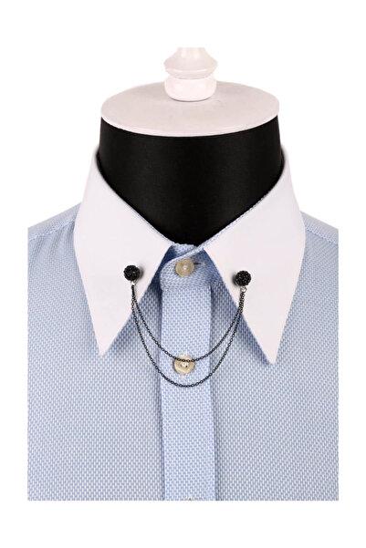 La Pescara Siyah Taşlı Zincirli Gömlek Yaka İğnesi GI087