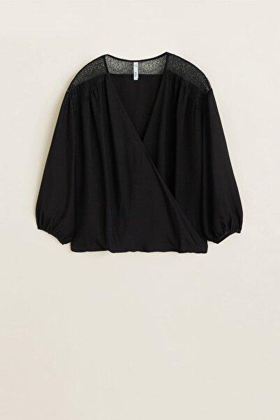 MANGO Woman Kadın Siyah Dantel Aplikeli Bluz 43027795