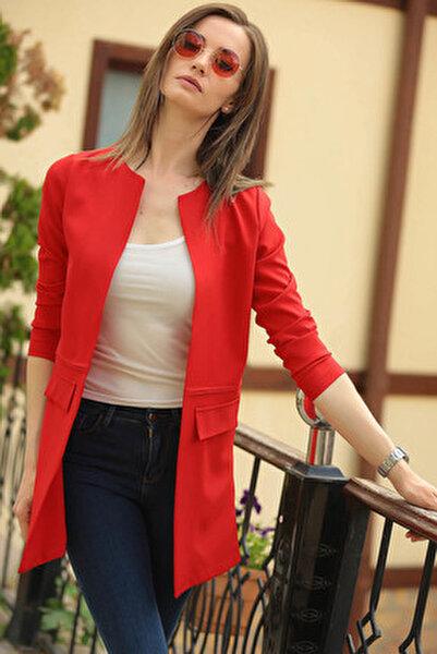 Kadın Kırmızı Beli Dikişli Uzun Ceket ARM-18K001308