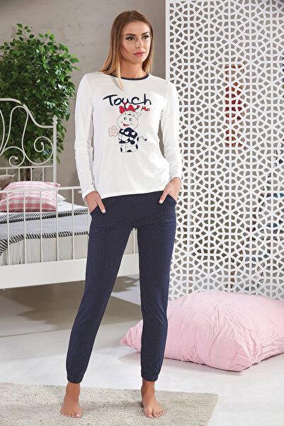 Sevim Kadın Ekru Baskılı Pijama Takımı 6689  - Outlet Ürünü