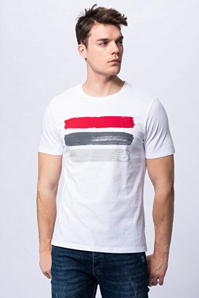 New Balance Erkek T-shirt - 3 Brush TEE - V-MTT903-WT