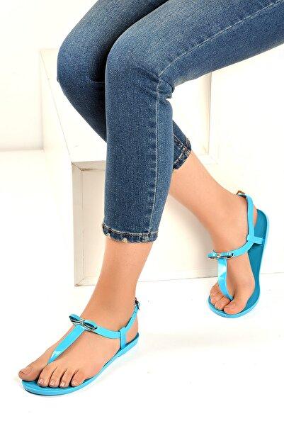 Pembe Potin Mavi Kadın Sandalet A9819-19