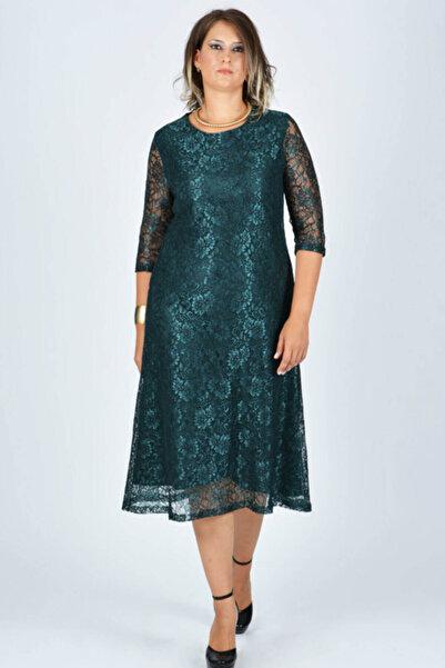 Nidya Moda Büyük Beden Kloş Yeşil Dantel Abiye Elbise-4036y
