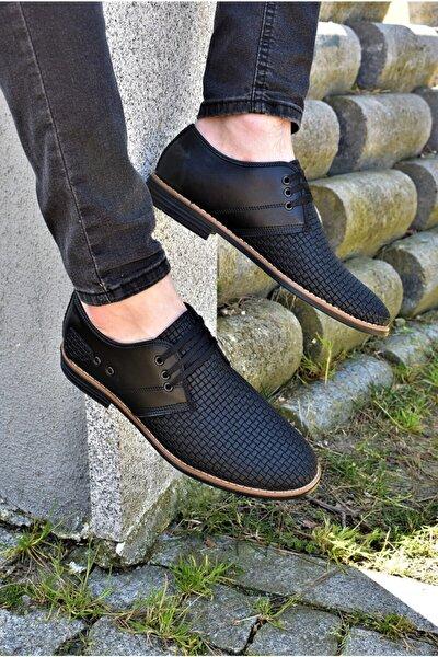 ALBİDÜNYA Erkek Ortopedik Tabanlı Günlük Ayakkabı Baskı Modelli Siyah