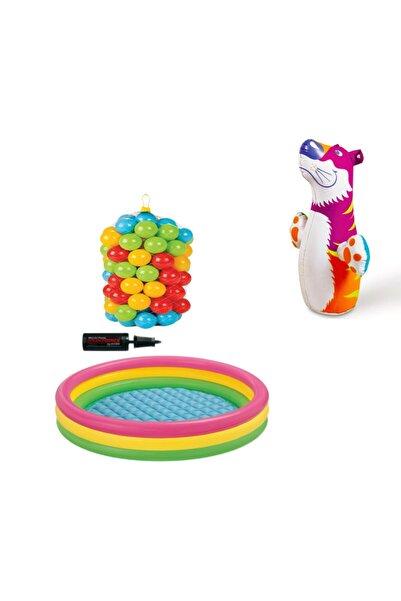 Intex Bebek Oyun Havuz Seti  +50 Top (6 cm)+ Pompa +hacıyatmaz)