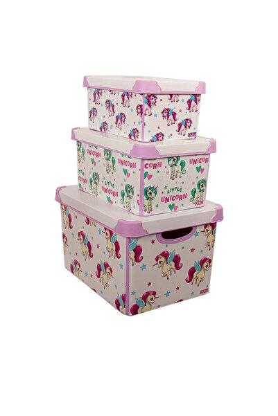 QUTU Style Box Unicorn Dekoratif Saklama Kutusu - Set 3 Parça