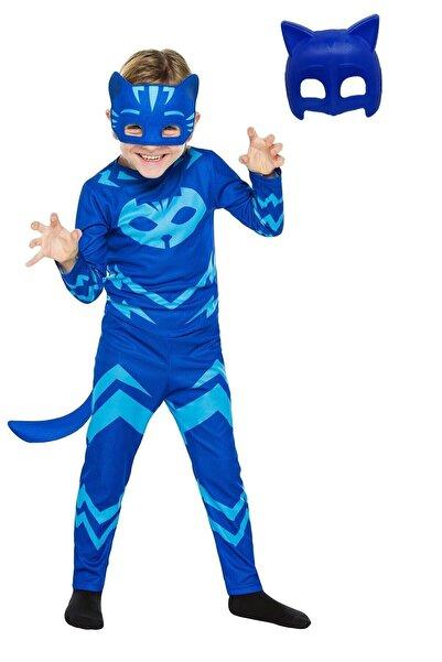 Gökmen Tekstil Pija Maskeliler Kedi Çocuk Mavi 2 Maskeli Pelerinli Kostüm Pj Masks Kostümü