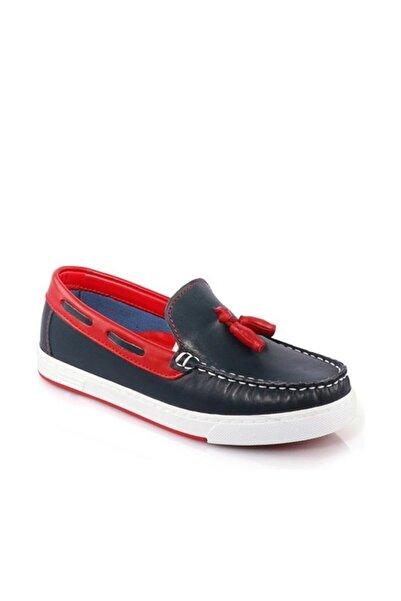 Vicco Çocuk Patik Deri Ayakkabı Lacivert-Kırmızı