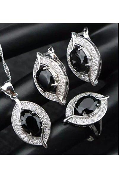 TakıTakıVer Oval Yaprak Zarif Model Kristal Siyah Zirkon Taşlı Gümüş Takı Seti