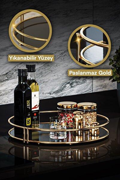 Bino Servis Sunum Ikramlık Gold Büyük Lüks Organizer Sofra Mutfak Düzenleyici Pasta Standı