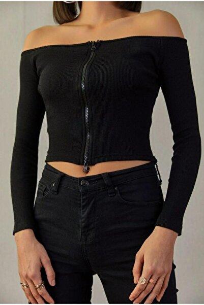 Ma-ez Giyim Kadın Siyah Kayık Yaka Çift Taraf Fermuarlı Kısa Body