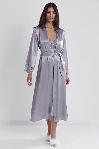 Pierre Cardin Kadın Saten Dantelli Gecelik & Sabahlık Takım - 4370 Royal