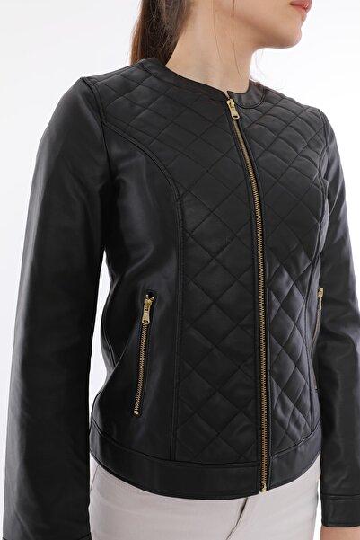 LA PANTE Kadın Siyah Deri Ceket