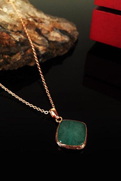 Dr. Stone Kadın Doğaltaş Yeşil Akik Taşı Rose Altın Kaplama Kolye Krb150