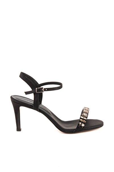 Tanca Hakiki Deri  Sıyah Saten Kadın Klasik Topuklu Ayakkabı 191TCK456 0220