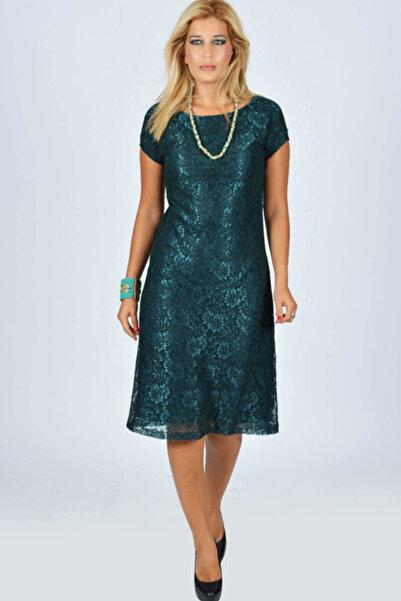 Nidya Moda Büyük Beden Vako Yeşil Dantel Abiye Elbise-4035dy