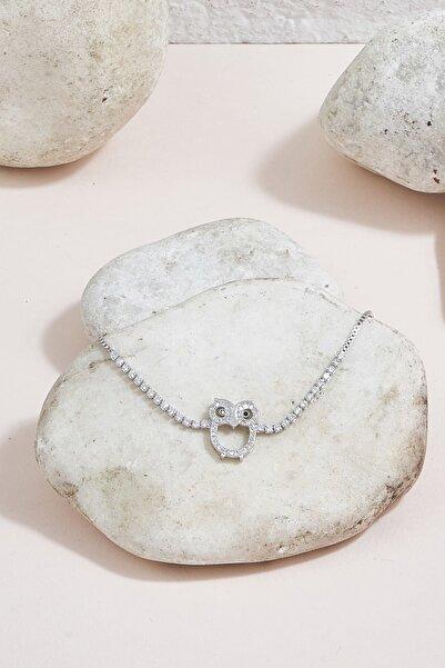 ZİNDİ Kadın Baykuşlu Taşlı İnce Bileklik Gümüş Rengi K-3051051-040