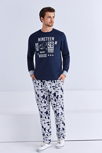 Mickey Mouse Lisanslı Erkek Pijama Takımı Lacivert