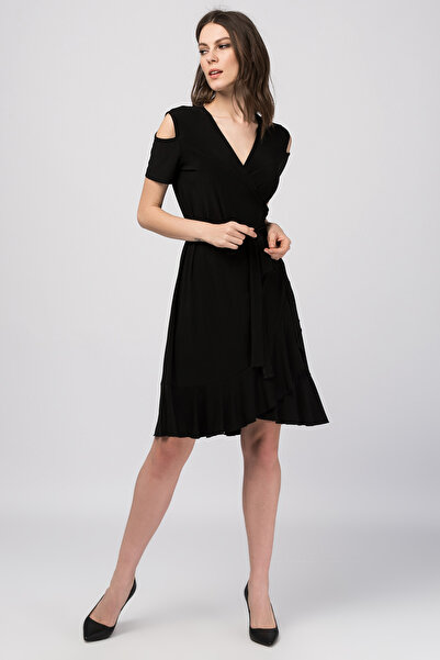 Laranor Kadın Siyah Kruvaze Kesim Elbise 18L6251