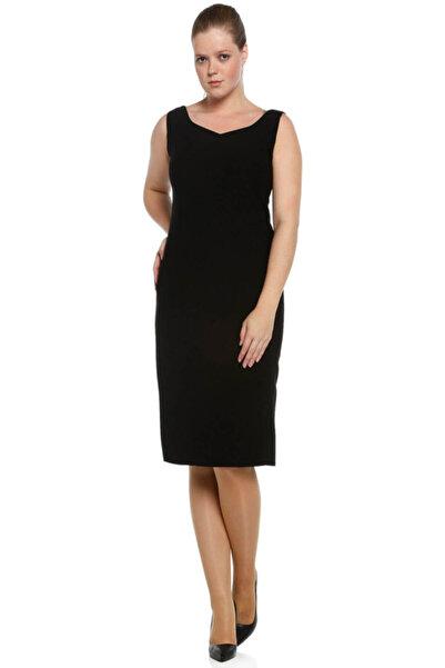 Nidya Moda Kadın Siyah Dalga Yaka Abiye Elbise 4065KS
