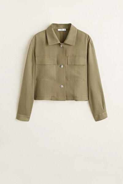 MANGO Woman Kadın Haki Renk Yumuşak Kumaştan Cepli Gömlek 41045829