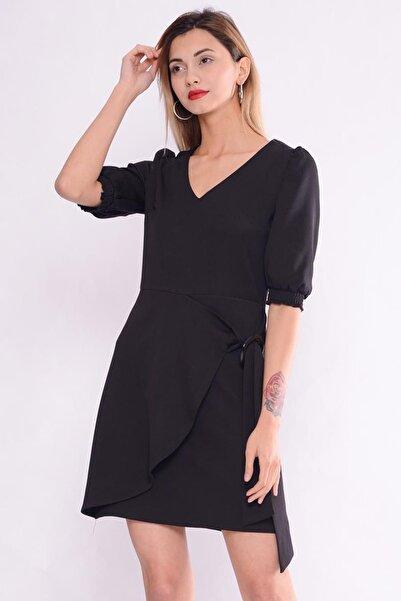 İroni Kadın Kemerli Sıyah Mini Elbise 5258-891
