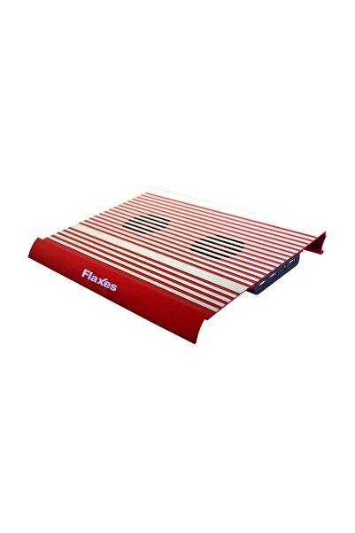 FLAXES Alüminyum Çift Fanlı Sessiz 4 usb Kırmızı Notebook Soğutucu FN-3333K