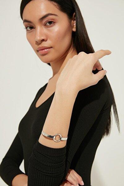 ZİNDİ Kadın Yuvarlak Çelik Bileklik Gümüş Rengi K-3051041-040