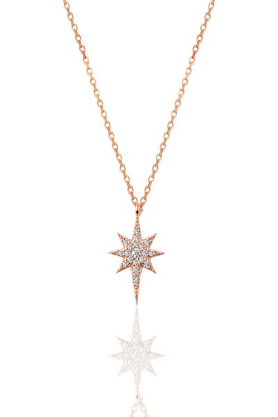 Söğütlü Silver Kadın Gümüş Zirkon Taşlı Kutup Yıldızı Kolye SGTL9568