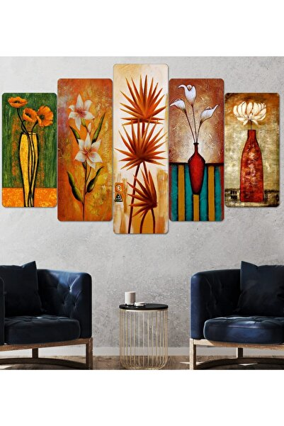 hanhomeart Çiçek Tablo-parçalı Ahşap Duvar Tablo Seti-5pr-816