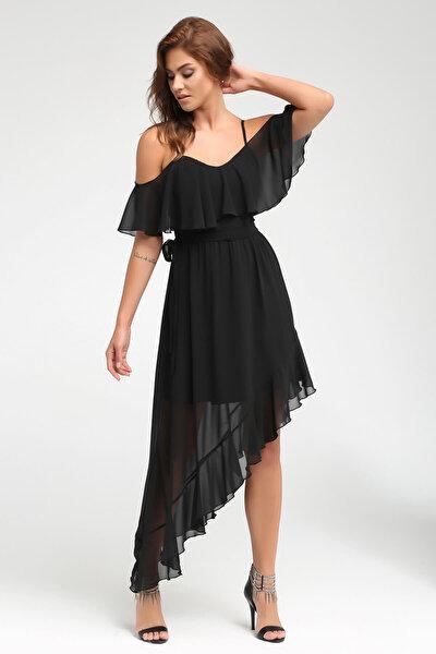 Laranor Kadın Siyah Omuz ve Etek Ucunda Volan Detaylı Elbise 17L5332