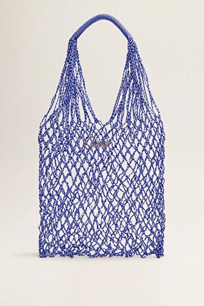 MANGO Woman Kadın Mavi El Yapımı File Çanta 43033720