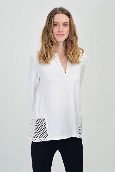 Hanna's by Hanna Darsa Kadın Beyaz V Yaka Dantel Detay Uzun Kollu Bluz Hn1422