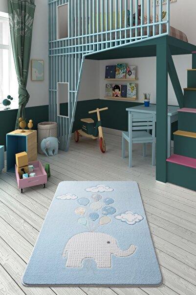 Confetti Sweet Elephant 133x190 A.mavi Oymalı Çocuk Halısı