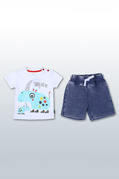 Wonder Kıds Beyaz Erkek Bebek 2'li Takım WK17SS7208