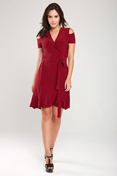 Kadın Bordo Kruvaze Kesim Elbise 18L6251