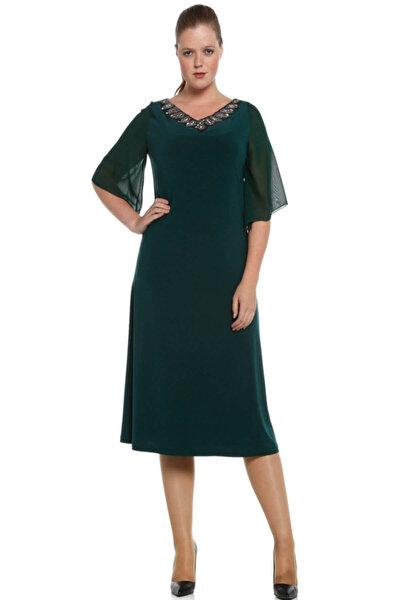 Nidya Moda Büyük Beden Yeşil Şifon Kol Taşlı Abiye Elbise-4053y