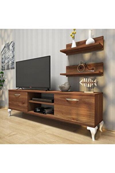 A4 Duvar Raflı Tv Sehpası - Kitaplıklı Tv Ünitesi Modern Ayaklı Tasarım Minyatür Ceviz