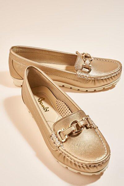 Bambi Altın Kadın Loafer Ayakkabı H0645056599